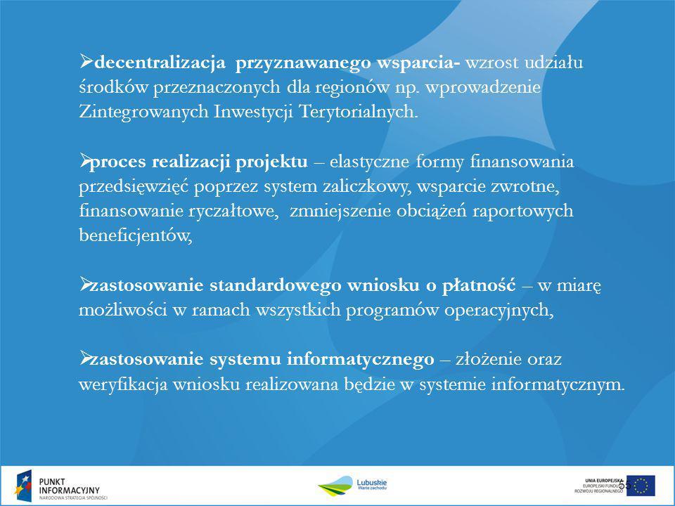  decentralizacja przyznawanego wsparcia- wzrost udziału środków przeznaczonych dla regionów np. wprowadzenie Zintegrowanych Inwestycji Terytorialnych