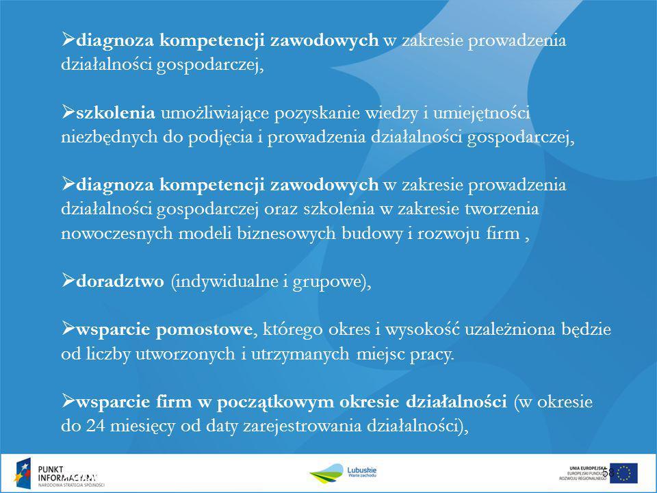  diagnoza kompetencji zawodowych w zakresie prowadzenia działalności gospodarczej,  szkolenia umożliwiające pozyskanie wiedzy i umiejętności niezbęd