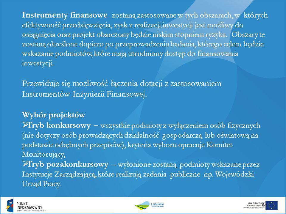 Instrumenty finansowe zostaną zastosowane w tych obszarach, w których efektywność przedsięwzięcia, zysk z realizacji inwestycji jest możliwy do osiągn