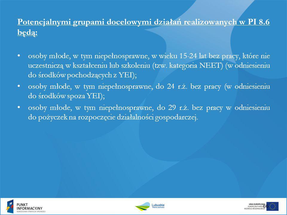 Potencjalnymi grupami docelowymi działań realizowanych w PI 8.6 będą: osoby młode, w tym niepełnosprawne, w wieku 15-24 lat bez pracy, które nie uczes