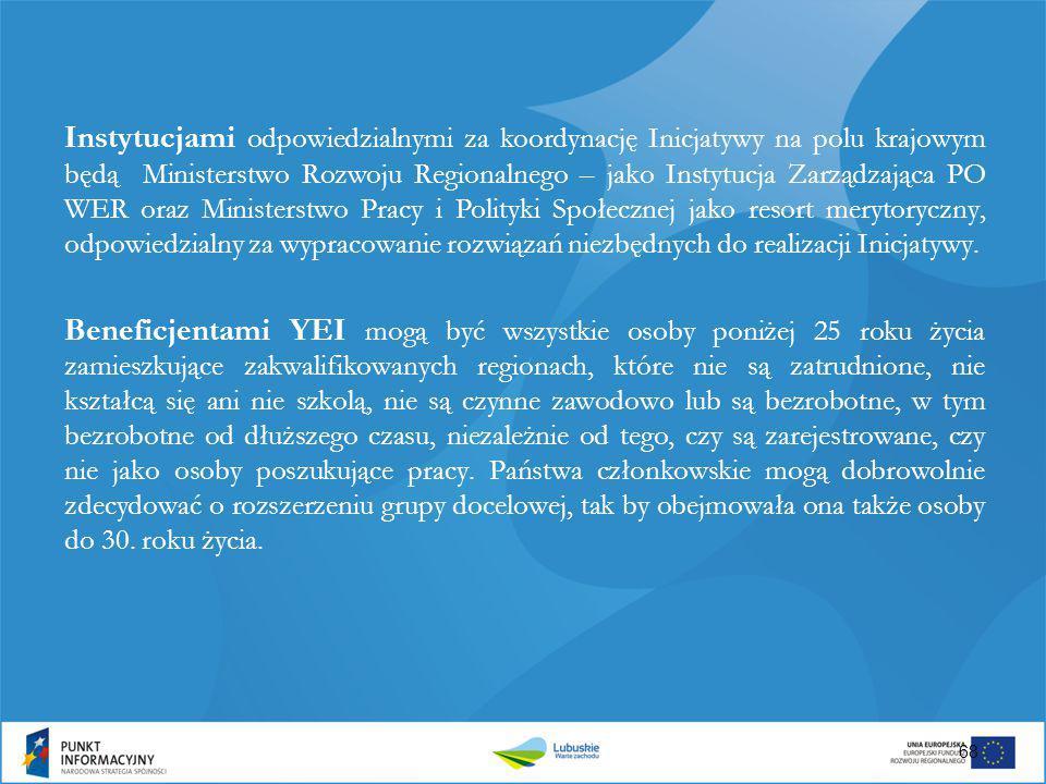 Instytucjami odpowiedzialnymi za koordynację Inicjatywy na polu krajowym będą Ministerstwo Rozwoju Regionalnego – jako Instytucja Zarządzająca PO WER