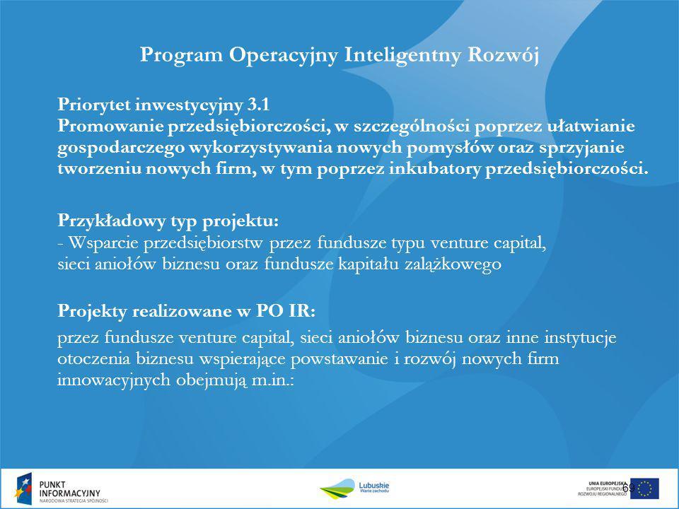 69 Program Operacyjny Inteligentny Rozwój Priorytet inwestycyjny 3.1 Promowanie przedsiębiorczości, w szczególności poprzez ułatwianie gospodarczego w