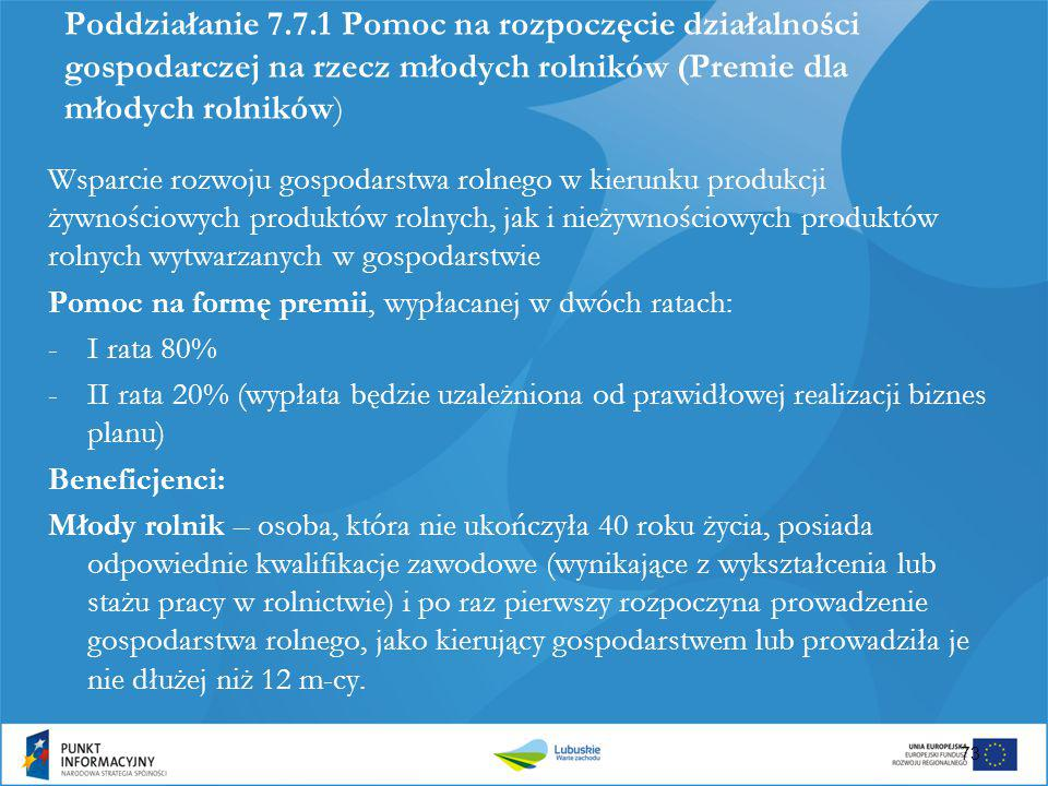 Poddziałanie 7.7.1 Pomoc na rozpoczęcie działalności gospodarczej na rzecz młodych rolników (Premie dla młodych rolników) Wsparcie rozwoju gospodarstw