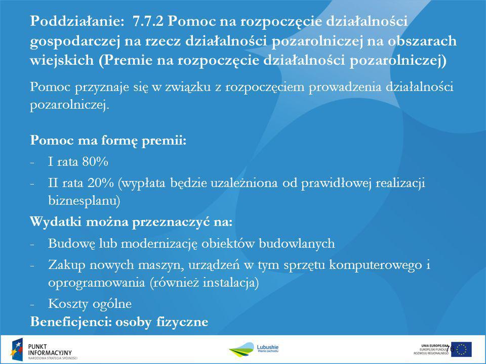 Poddziałanie: 7.7.2 Pomoc na rozpoczęcie działalności gospodarczej na rzecz działalności pozarolniczej na obszarach wiejskich (Premie na rozpoczęcie d