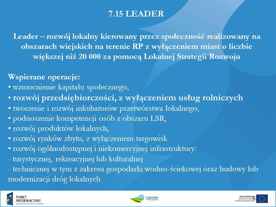 7.15 LEADER Leader – rozwój lokalny kierowany przez społeczność realizowany na obszarach wiejskich na terenie RP z wyłączeniem miast o liczbie większe
