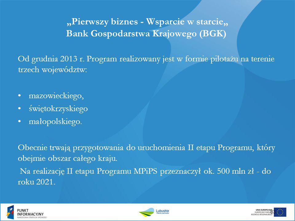 """""""Pierwszy biznes - Wsparcie w starcie"""" Bank Gospodarstwa Krajowego (BGK) Od grudnia 2013 r. Program realizowany jest w formie pilotażu na terenie trze"""