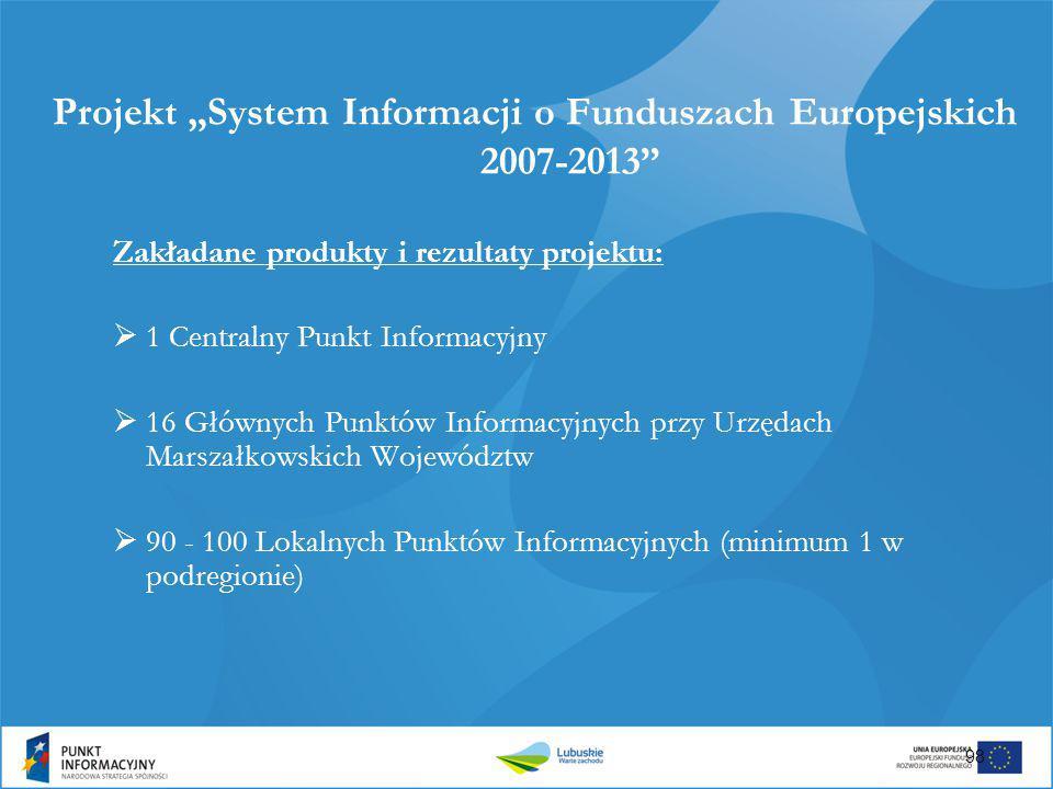 """Projekt """"System Informacji o Funduszach Europejskich 2007-2013"""" Zakładane produkty i rezultaty projektu:  1 Centralny Punkt Informacyjny  16 Głównyc"""