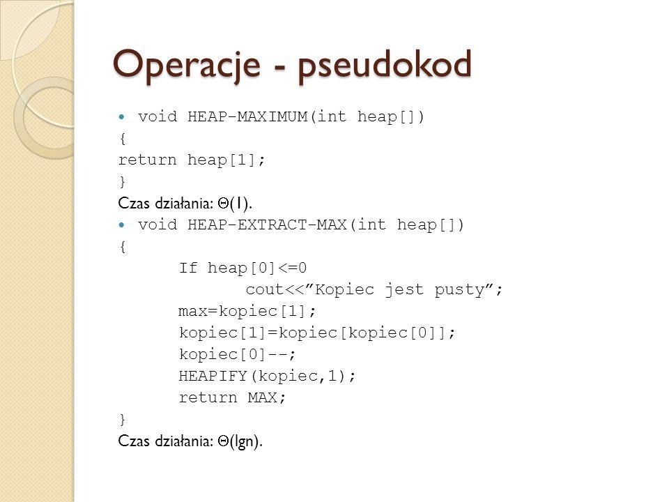 Operacje - pseudokod void HEAP-MAXIMUM(int heap[]) { return heap[1]; } Czas działania:  (1). void HEAP-EXTRACT-MAX(int heap[]) { If heap[0]<=0 cout<<