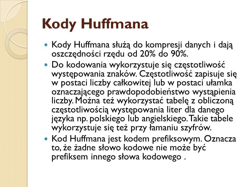 Kody Huffmana Kody Huffmana służą do kompresji danych i dają oszczędności rzędu od 20% do 90%. Do kodowania wykorzystuje się częstotliwość występowani
