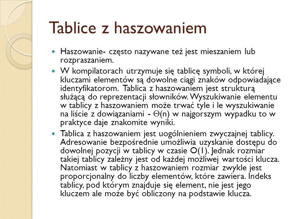 Tablice z haszowaniem Haszowanie- często nazywane też jest mieszaniem lub rozpraszaniem. W kompilatorach utrzymuje się tablicę symboli, w której klucz