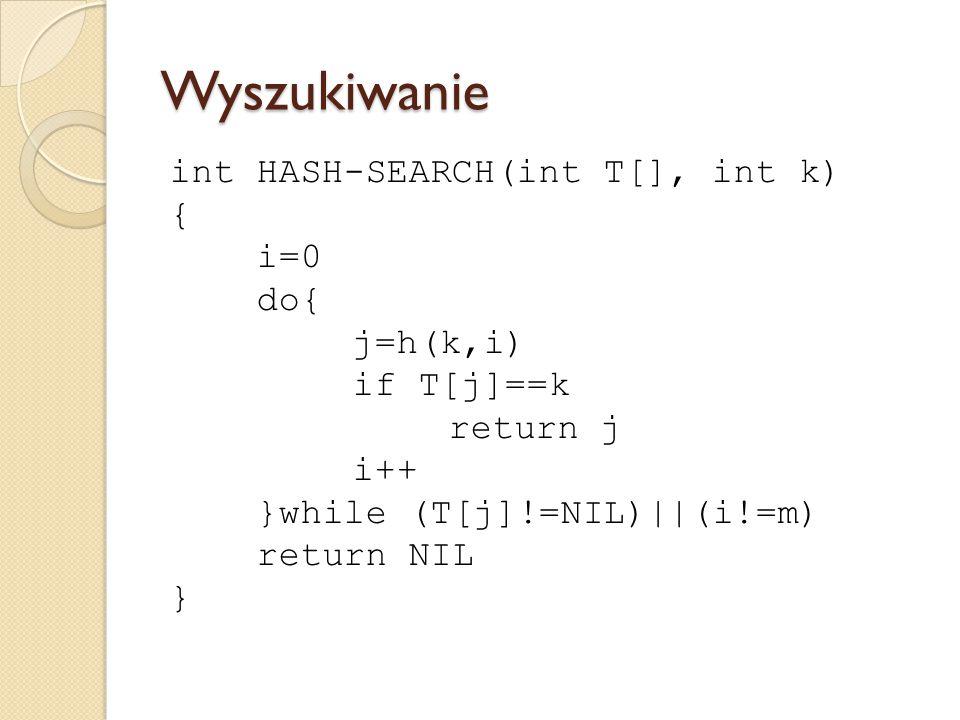 Wyszukiwanie int HASH-SEARCH(int T[], int k) { i=0 do{ j=h(k,i) if T[j]==k return j i++ }while (T[j]!=NIL)||(i!=m) return NIL }
