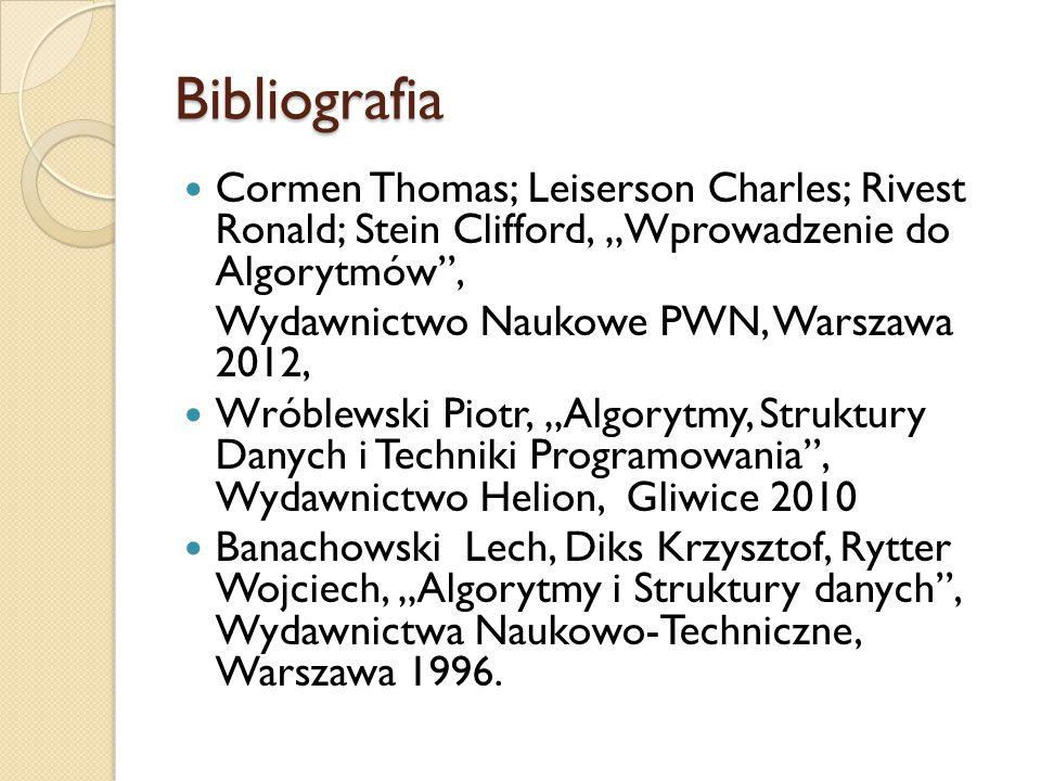 """Bibliografia Cormen Thomas; Leiserson Charles; Rivest Ronald; Stein Clifford, """"Wprowadzenie do Algorytmów"""", Wydawnictwo Naukowe PWN, Warszawa 2012, Wr"""
