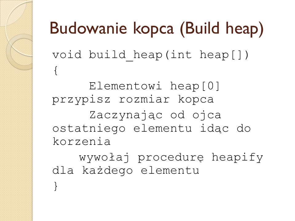 Budowanie kopca (Build heap) void build_heap(int heap[]) { Elementowi heap[0] przypisz rozmiar kopca Zaczynając od ojca ostatniego elementu idąc do ko