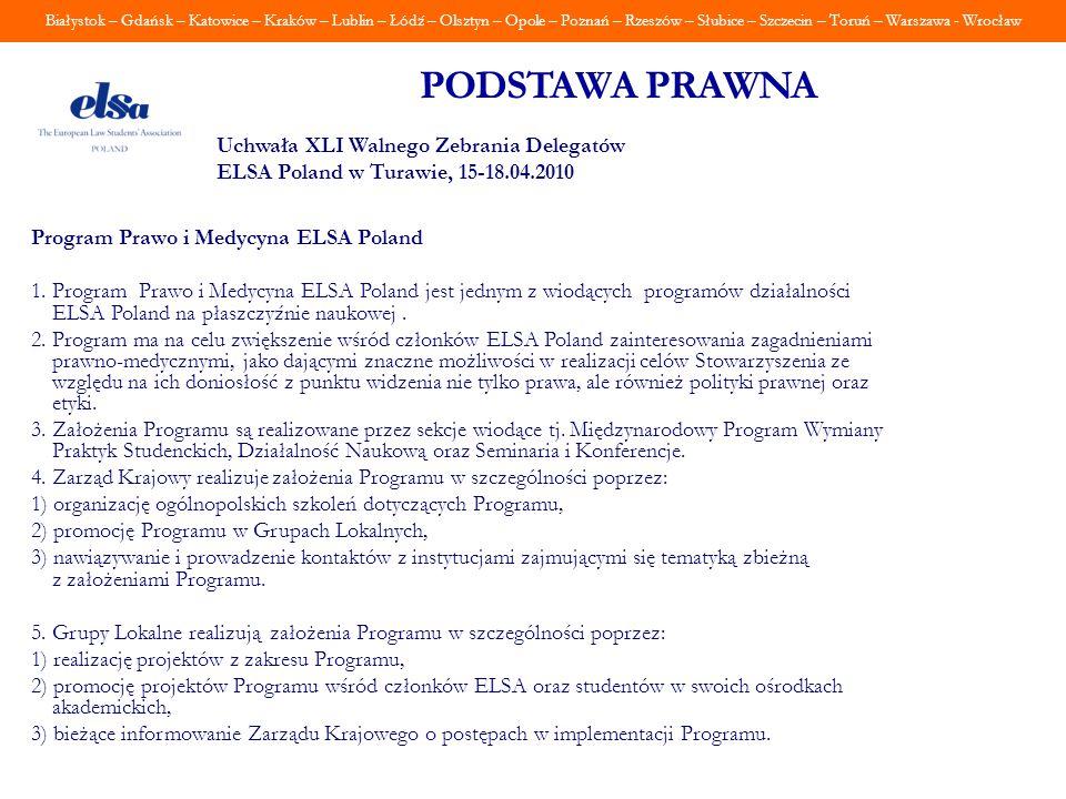 Białystok – Gdańsk – Katowice – Kraków – Lublin – Łódź – Olsztyn – Opole – Poznań – Rzeszów – Słubice – Szczecin – Toruń – Warszawa - Wrocław PODSTAWA
