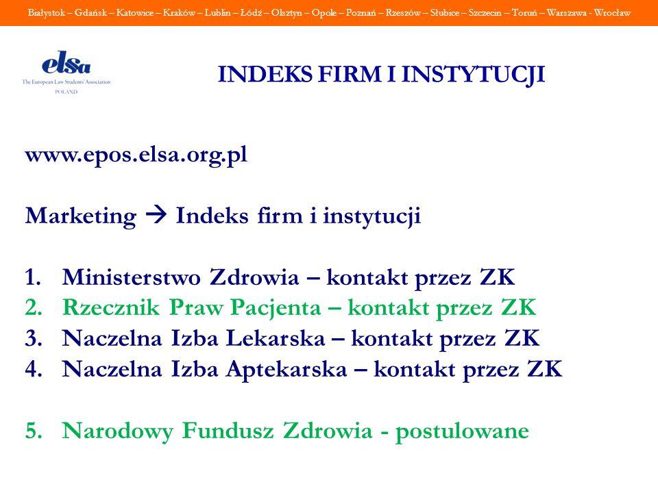 Białystok – Gdańsk – Katowice – Kraków – Lublin – Łódź – Olsztyn – Opole – Poznań – Rzeszów – Słubice – Szczecin – Toruń – Warszawa - Wrocław INDEKS F