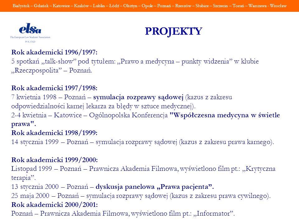 Białystok – Gdańsk – Katowice – Kraków – Lublin – Łódź – Olsztyn – Opole – Poznań – Rzeszów – Słubice – Szczecin – Toruń – Warszawa - Wrocław PROJEKTY