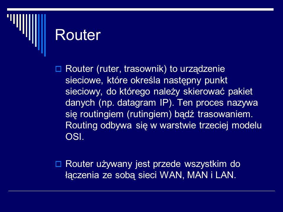 Router  Router (ruter, trasownik) to urządzenie sieciowe, które określa następny punkt sieciowy, do którego należy skierować pakiet danych (np.