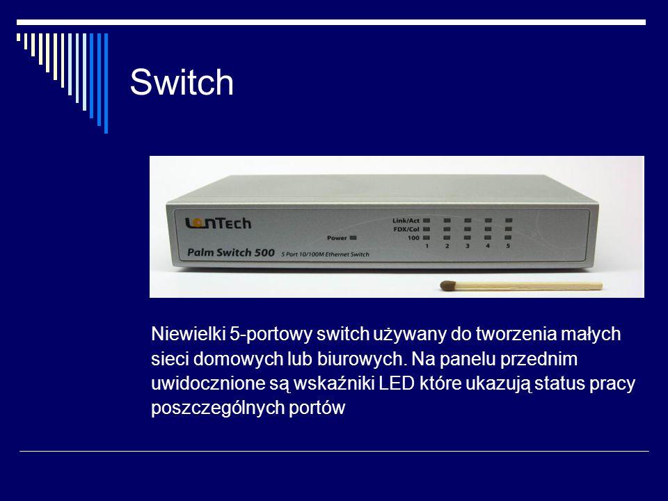 Switch Niewielki 5-portowy switch używany do tworzenia małych sieci domowych lub biurowych.