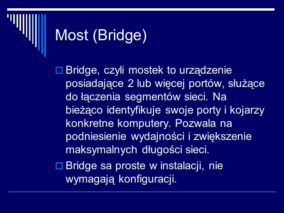 Most (Bridge)  Bridge, czyli mostek to urządzenie posiadające 2 lub więcej portów, służące do łączenia segmentów sieci.