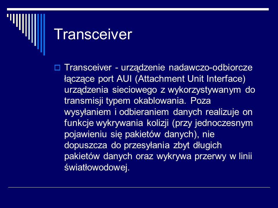 Transceiver  Transceiver - urządzenie nadawczo-odbiorcze łączące port AUI (Attachment Unit Interface) urządzenia sieciowego z wykorzystywanym do transmisji typem okablowania.