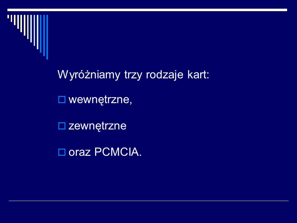 Wyróżniamy trzy rodzaje kart:  wewnętrzne,  zewnętrzne  oraz PCMCIA.
