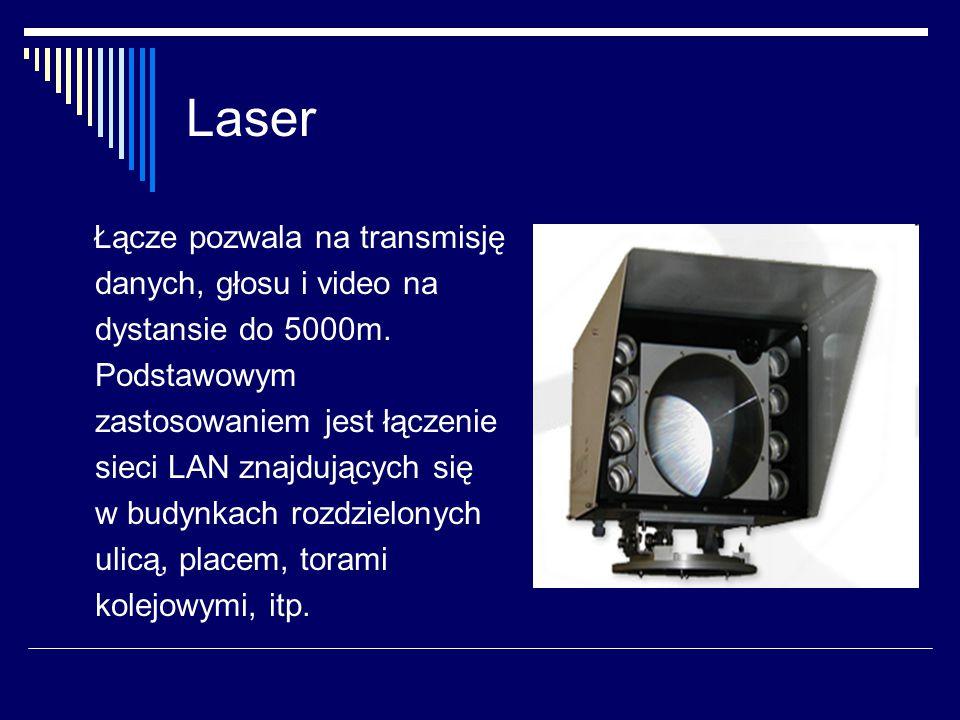 Laser Łącze pozwala na transmisję danych, głosu i video na dystansie do 5000m.