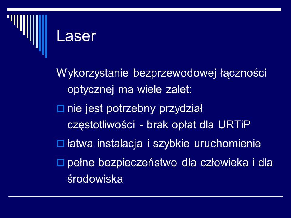 Laser Wykorzystanie bezprzewodowej łączności optycznej ma wiele zalet:  nie jest potrzebny przydział częstotliwości - brak opłat dla URTiP  łatwa instalacja i szybkie uruchomienie  pełne bezpieczeństwo dla człowieka i dla środowiska
