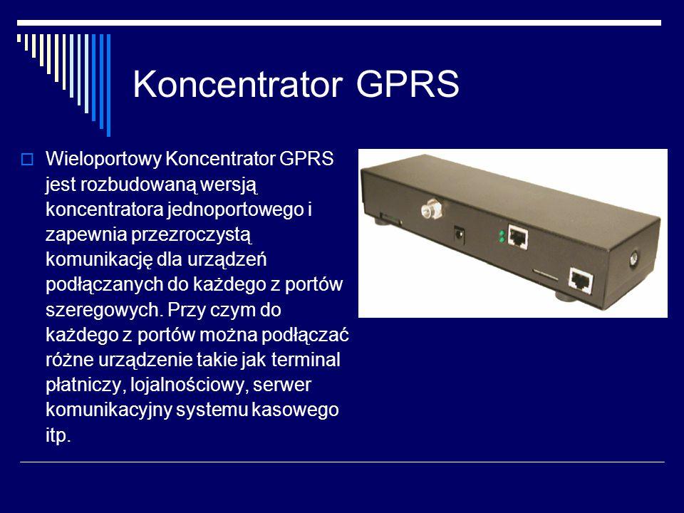 Koncentrator GPRS  Wieloportowy Koncentrator GPRS jest rozbudowaną wersją koncentratora jednoportowego i zapewnia przezroczystą komunikację dla urządzeń podłączanych do każdego z portów szeregowych.