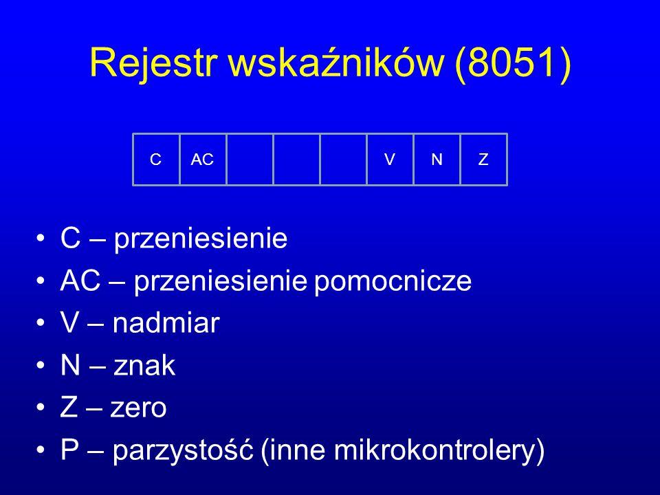 Rejestr wskaźników (8051) C – przeniesienie AC – przeniesienie pomocnicze V – nadmiar N – znak Z – zero P – parzystość (inne mikrokontrolery) CACVNZ