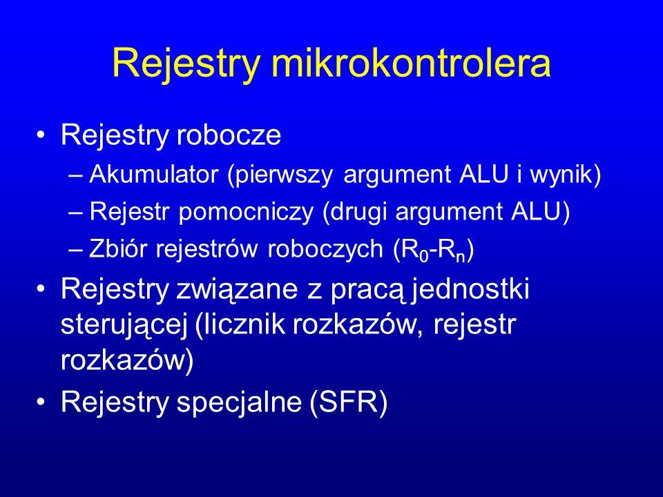 Rejestry mikrokontrolera Rejestry robocze –Akumulator (pierwszy argument ALU i wynik) –Rejestr pomocniczy (drugi argument ALU) –Zbiór rejestrów robocz