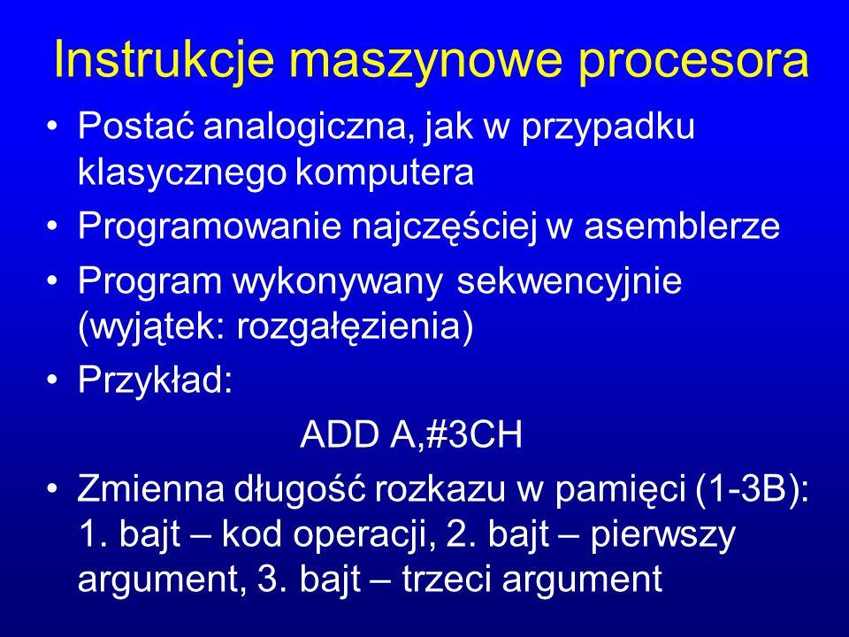 Instrukcje maszynowe procesora Postać analogiczna, jak w przypadku klasycznego komputera Programowanie najczęściej w asemblerze Program wykonywany sek