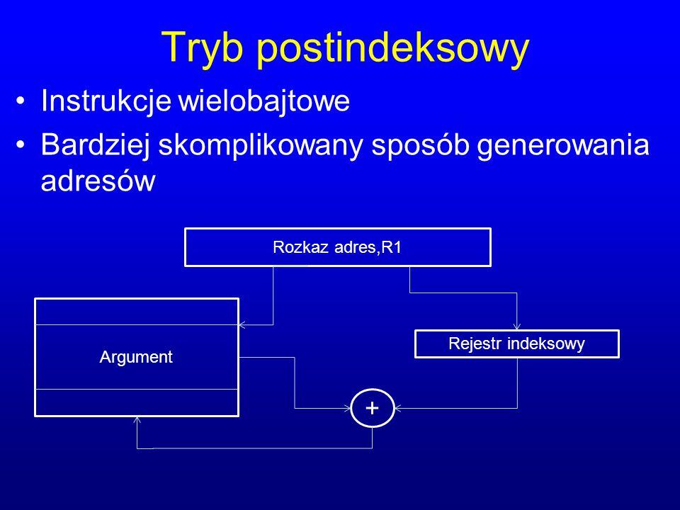 Tryb postindeksowy Instrukcje wielobajtowe Bardziej skomplikowany sposób generowania adresów Rozkaz adres,R1 Argument Rejestr indeksowy +