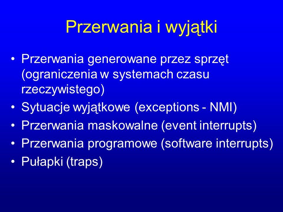 Przerwania i wyjątki Przerwania generowane przez sprzęt (ograniczenia w systemach czasu rzeczywistego) Sytuacje wyjątkowe (exceptions - NMI) Przerwani
