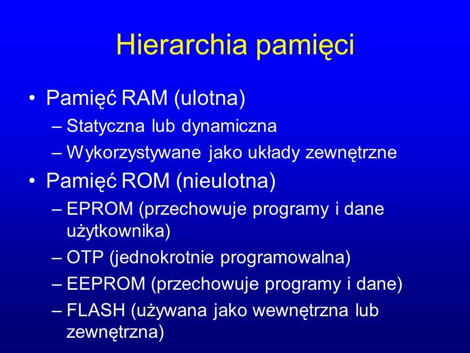 Hierarchia pamięci Pamięć RAM (ulotna) –Statyczna lub dynamiczna –Wykorzystywane jako układy zewnętrzne Pamięć ROM (nieulotna) –EPROM (przechowuje pro