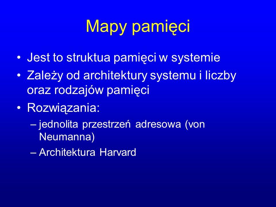 Mapy pamięci Jest to struktua pamięci w systemie Zależy od architektury systemu i liczby oraz rodzajów pamięci Rozwiązania: –jednolita przestrzeń adre