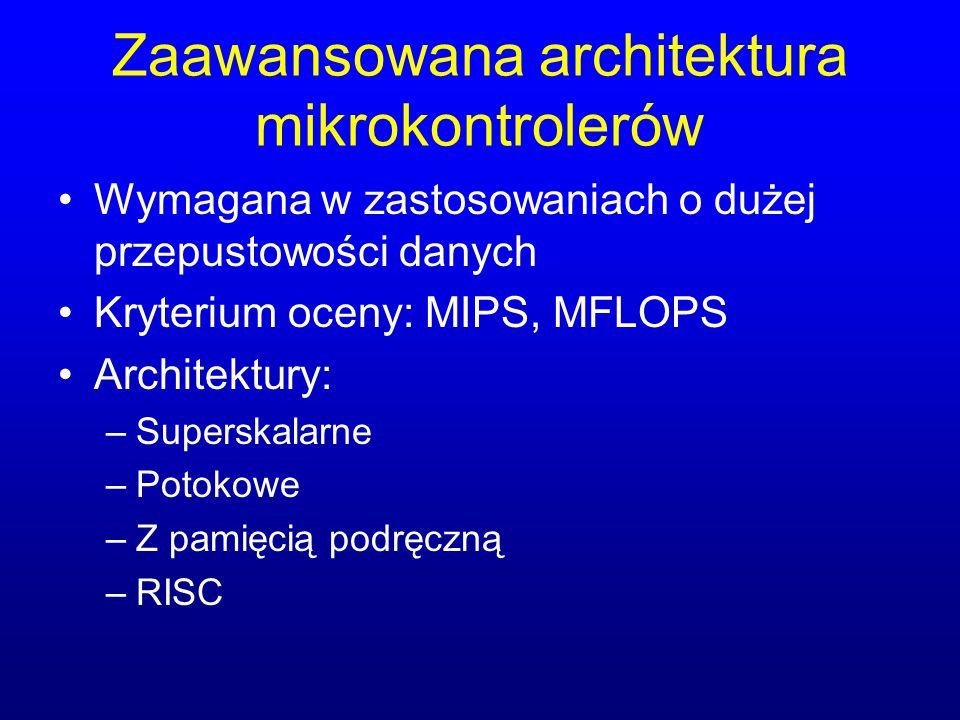 Zaawansowana architektura mikrokontrolerów Wymagana w zastosowaniach o dużej przepustowości danych Kryterium oceny: MIPS, MFLOPS Architektury: –Supers