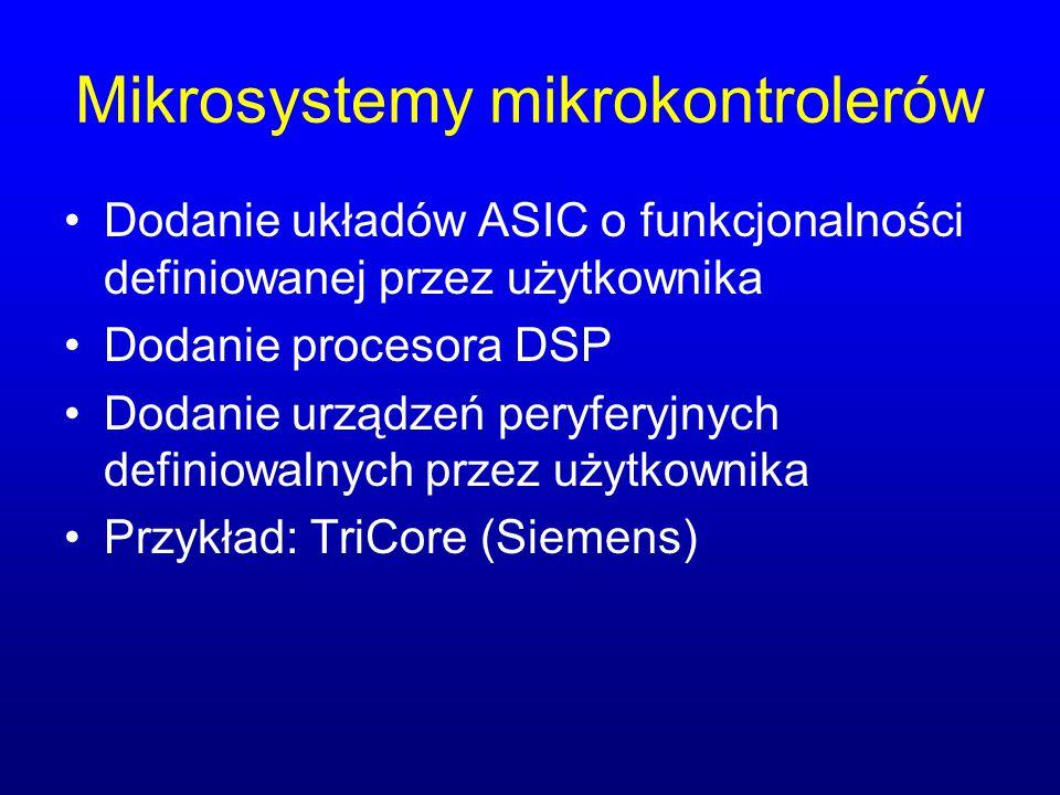 Mikrosystemy mikrokontrolerów Dodanie układów ASIC o funkcjonalności definiowanej przez użytkownika Dodanie procesora DSP Dodanie urządzeń peryferyjny