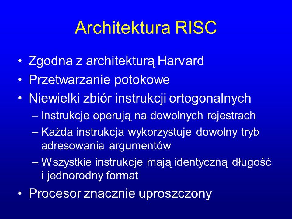 Architektura RISC Zgodna z architekturą Harvard Przetwarzanie potokowe Niewielki zbiór instrukcji ortogonalnych –Instrukcje operują na dowolnych rejes
