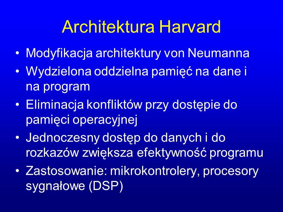 Architektura Harvard Modyfikacja architektury von Neumanna Wydzielona oddzielna pamięć na dane i na program Eliminacja konfliktów przy dostępie do pam