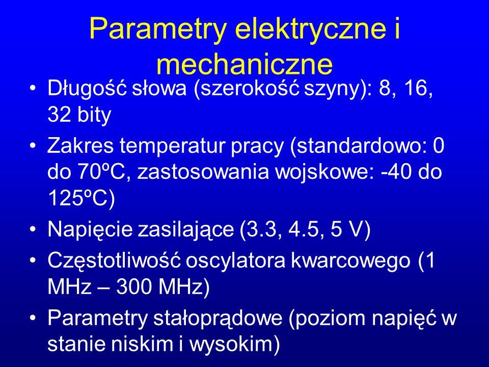 Parametry elektryczne i mechaniczne Długość słowa (szerokość szyny): 8, 16, 32 bity Zakres temperatur pracy (standardowo: 0 do 70ºC, zastosowania wojs
