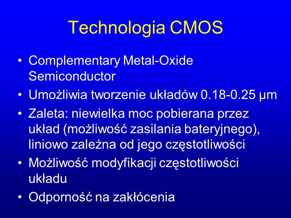 Technologia CMOS Complementary Metal-Oxide Semiconductor Umożliwia tworzenie układów 0.18-0.25 µm Zaleta: niewielka moc pobierana przez układ (możliwo