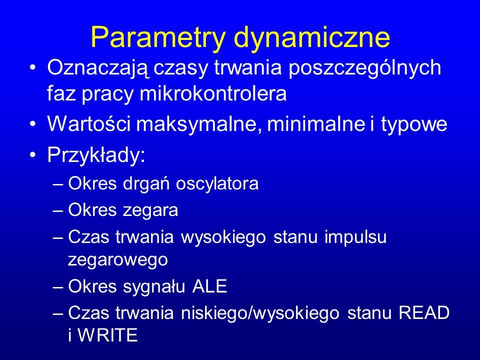 Parametry dynamiczne Oznaczają czasy trwania poszczególnych faz pracy mikrokontrolera Wartości maksymalne, minimalne i typowe Przykłady: –Okres drgań