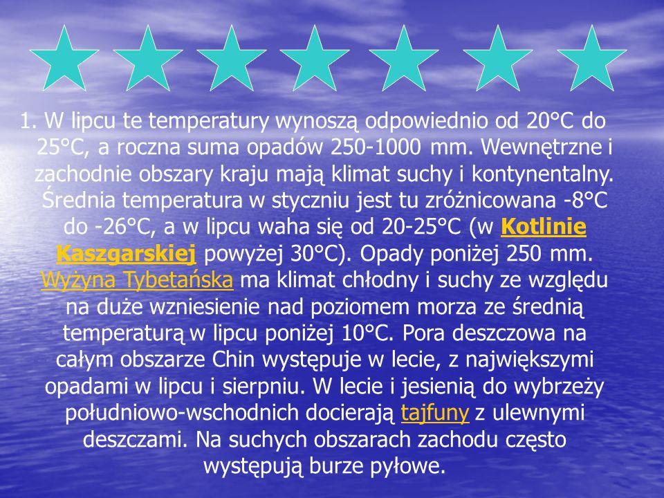 1.W lipcu te temperatury wynoszą odpowiednio od 20°C do 25°C, a roczna suma opadów 250-1000 mm. Wewnętrzne i zachodnie obszary kraju mają klimat suchy