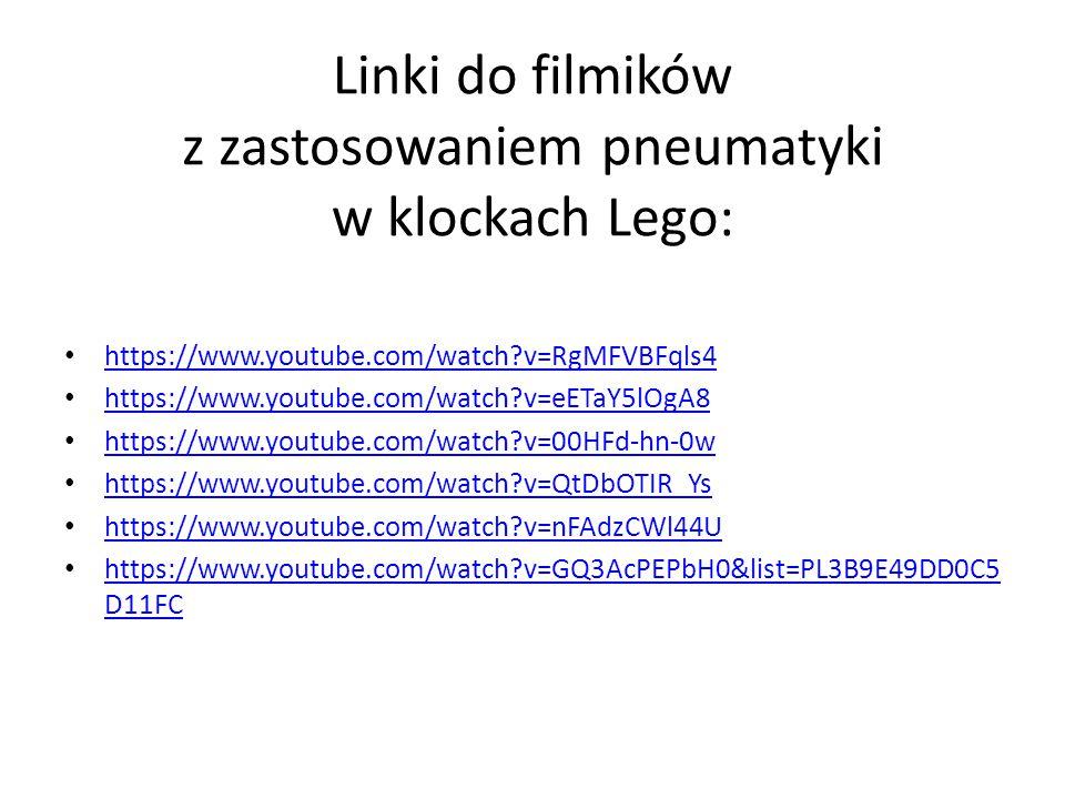 Linki do filmików z zastosowaniem pneumatyki w klockach Lego: https://www.youtube.com/watch?v=RgMFVBFqls4 https://www.youtube.com/watch?v=eETaY5lOgA8