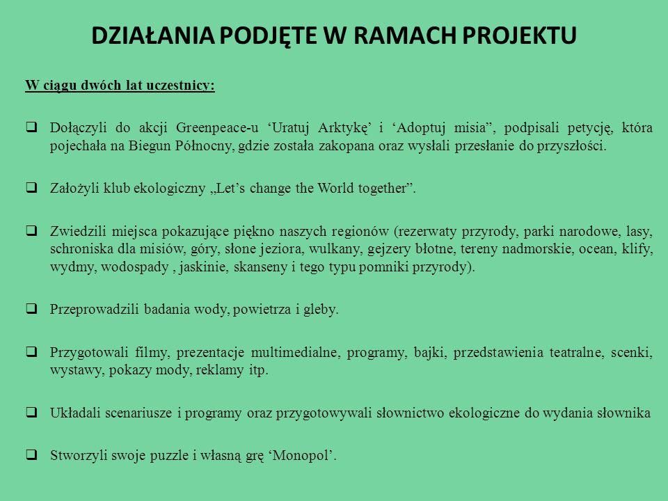 DZIAŁANIA PODJĘTE W RAMACH PROJEKTU  Przeprowadzali ankiety i wywiady pośród społeczności lokalnej.