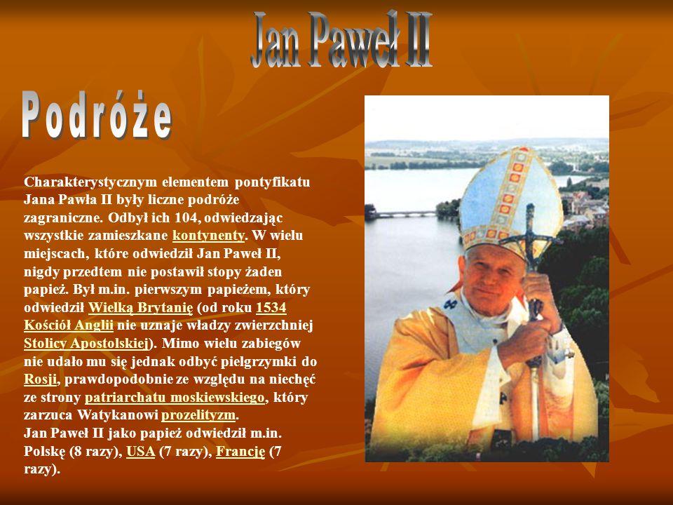 Charakterystycznym elementem pontyfikatu Jana Pawła II były liczne podróże zagraniczne.