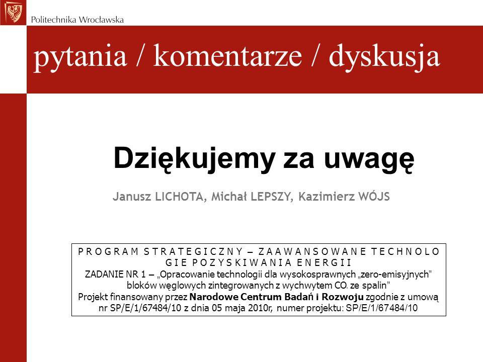 pytania / komentarze / dyskusja Dziękujemy za uwagę Janusz LICHOTA, Michał LEPSZY, Kazimierz WÓJS P R O G R A M S T R A T E G I C Z N Y – Z A A W A N