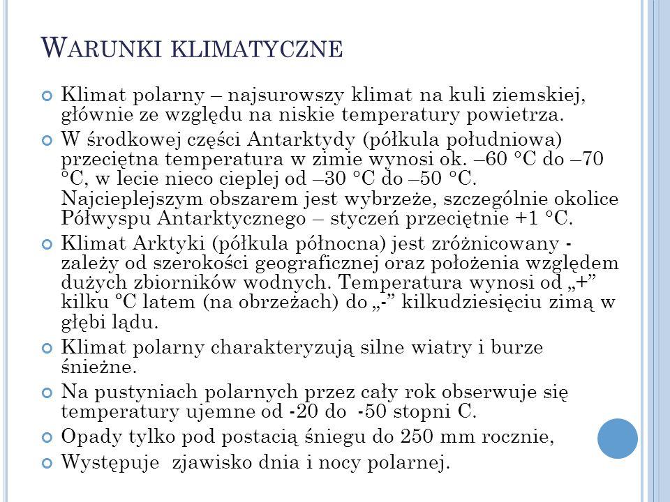 W ARUNKI KLIMATYCZNE Klimat polarny – najsurowszy klimat na kuli ziemskiej, głównie ze względu na niskie temperatury powietrza. W środkowej części Ant