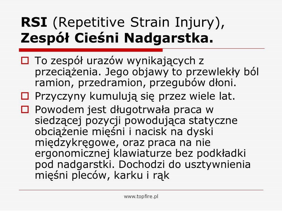 RSI (Repetitive Strain Injury), Zespół Cieśni Nadgarstka.  To zespół urazów wynikających z przeciążenia. Jego objawy to przewlekły ból ramion, przedr