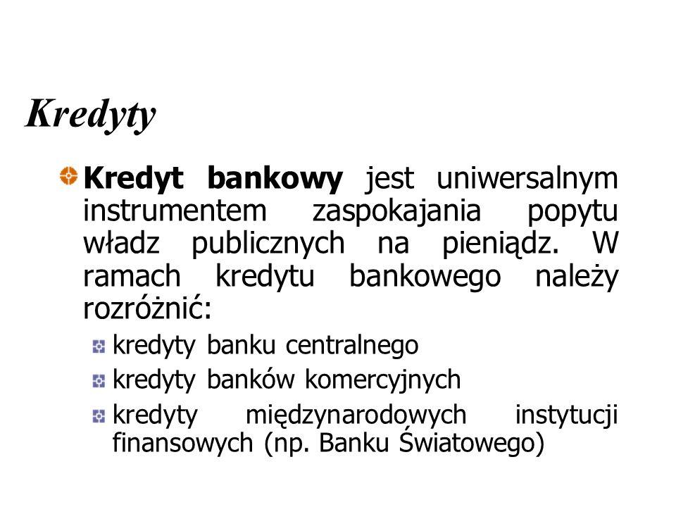 Kredyty Kredyt bankowy jest uniwersalnym instrumentem zaspokajania popytu władz publicznych na pieniądz.